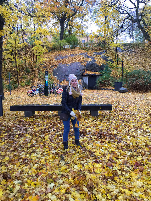 Playing with freshly fallen October leaves outside of the Moderna Museet in Stockholm, Sweden. Courtesy of Juliana Horn.