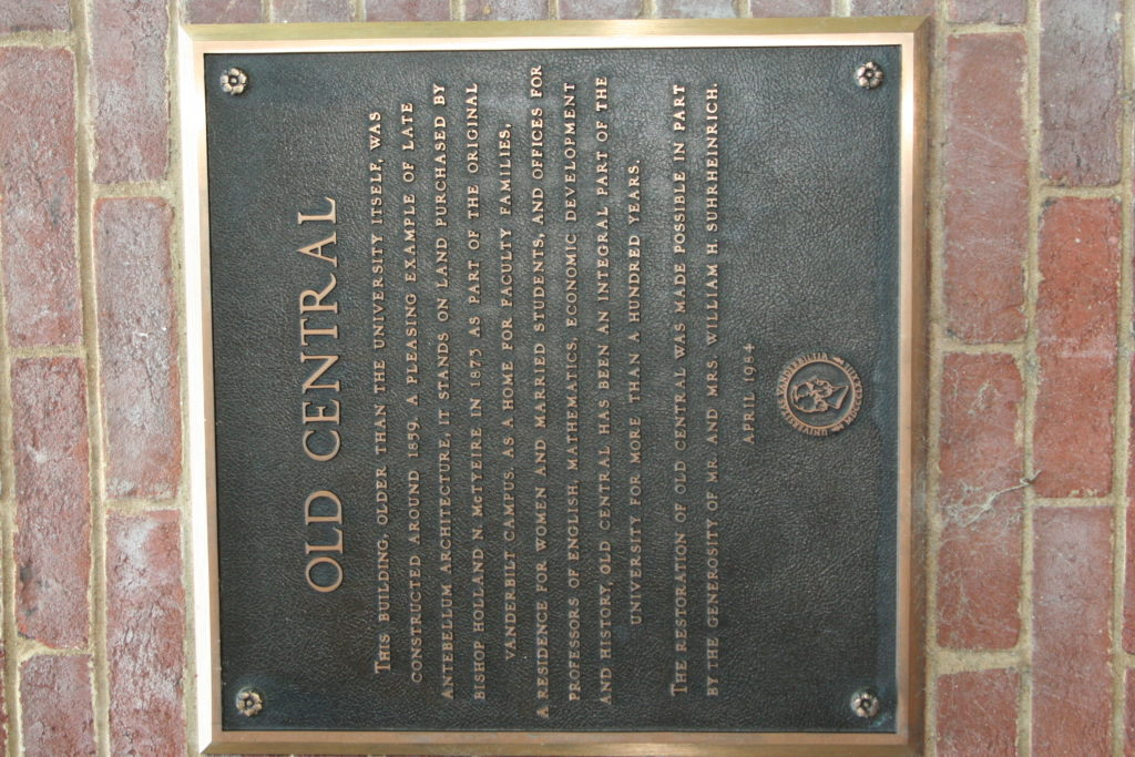 Plaque for Old Central