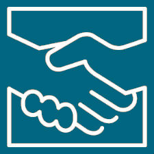 Blue logo of two hands clasped in a handshake