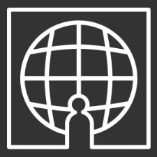 Black logo of a person standing before a large globe