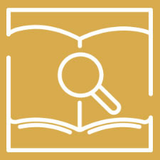 Gold logo of a magnifying glass hovering over an open book