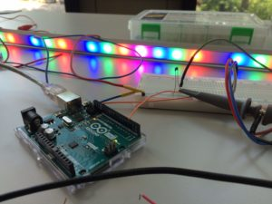 Josh Petrin worked on an LED strip to be applied to highly autonomous vehicles