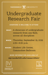 Gold Undergraduate Research Fair flyer with event information