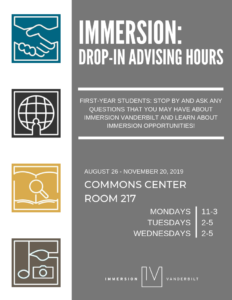 Gray and white flyer listing drop-in adivising hours for the Office of Immersion Resouces