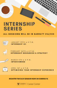 Yellow flyer for internship series listing sessions offered by the Career Center