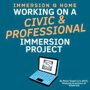 Graphic of a laptop with large text advertising the Civic and Professional Pathway of Immersion Vanderbilt