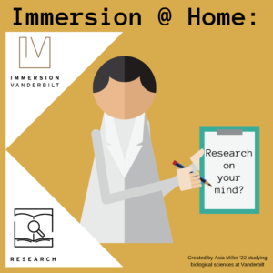Graphic of a person icon wearing a white lab coat and holding a clipboard with large text advertising the Research Pathway of Immersion Vanderbilt