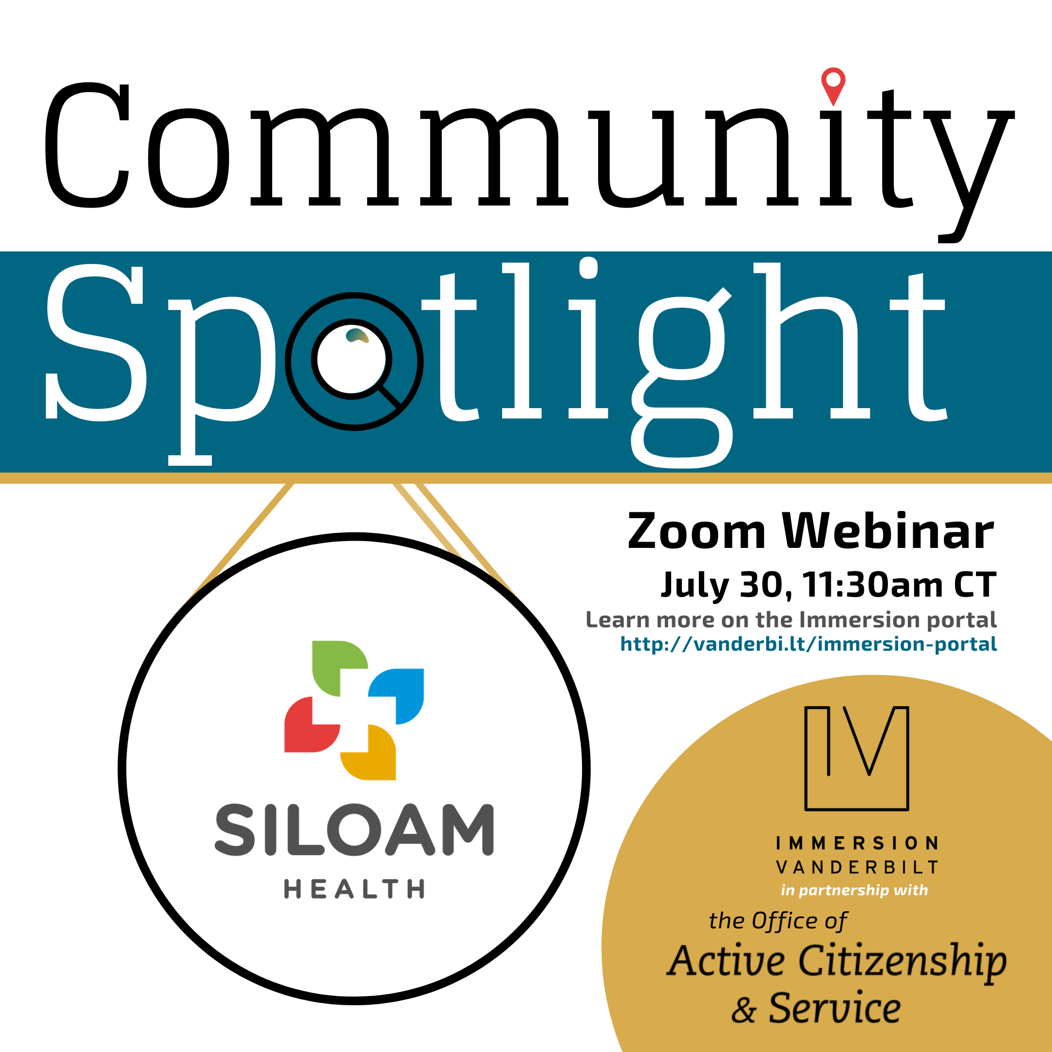 Graphic advertising a Zoom webinar with Siloam Health, depicting a magnifying glass spotlighting Siloam's logo