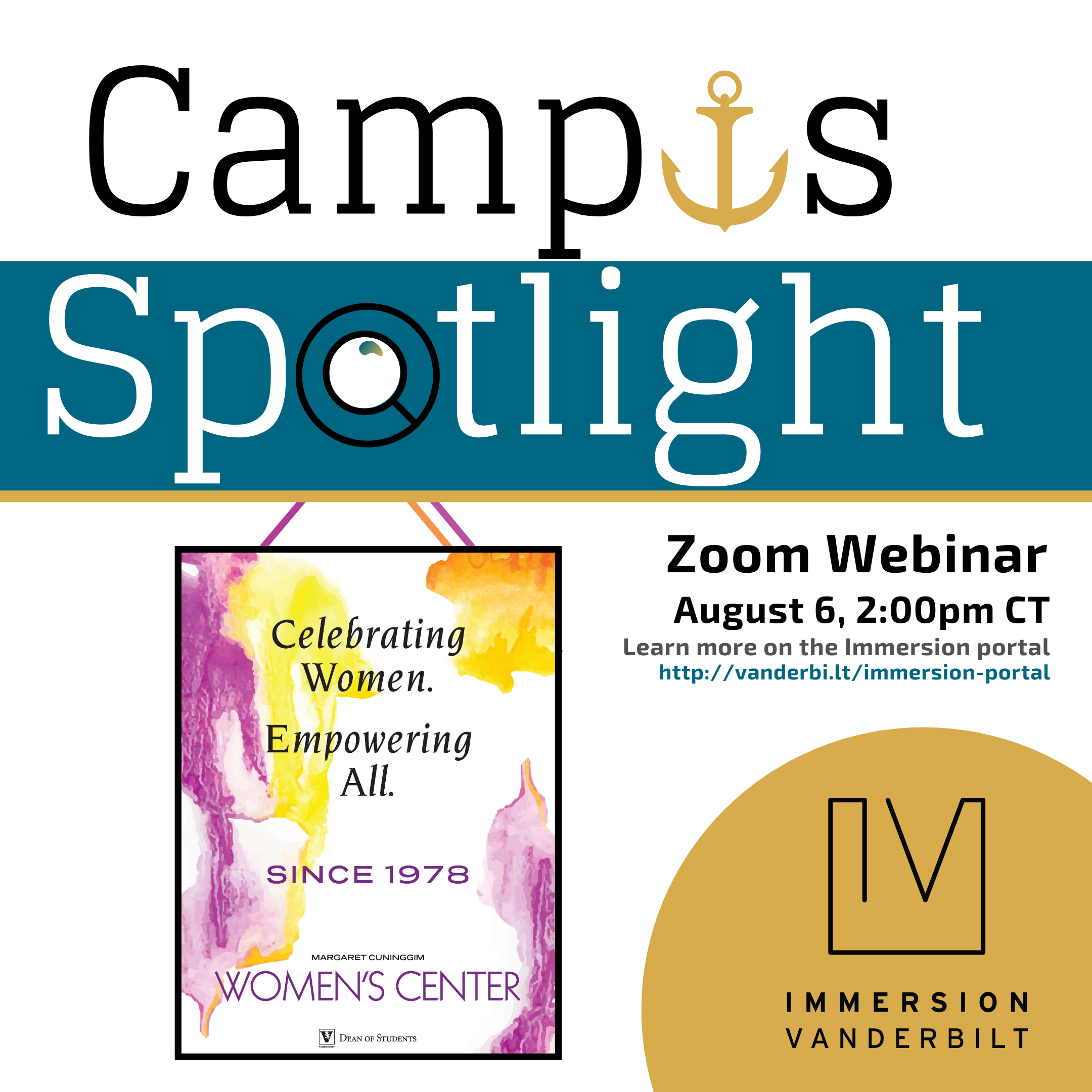 Graphic advertising a Zoom webinar with the Margaret Cuninggim Women's Center, depicting a magnifying glass spotlighting the center's logo