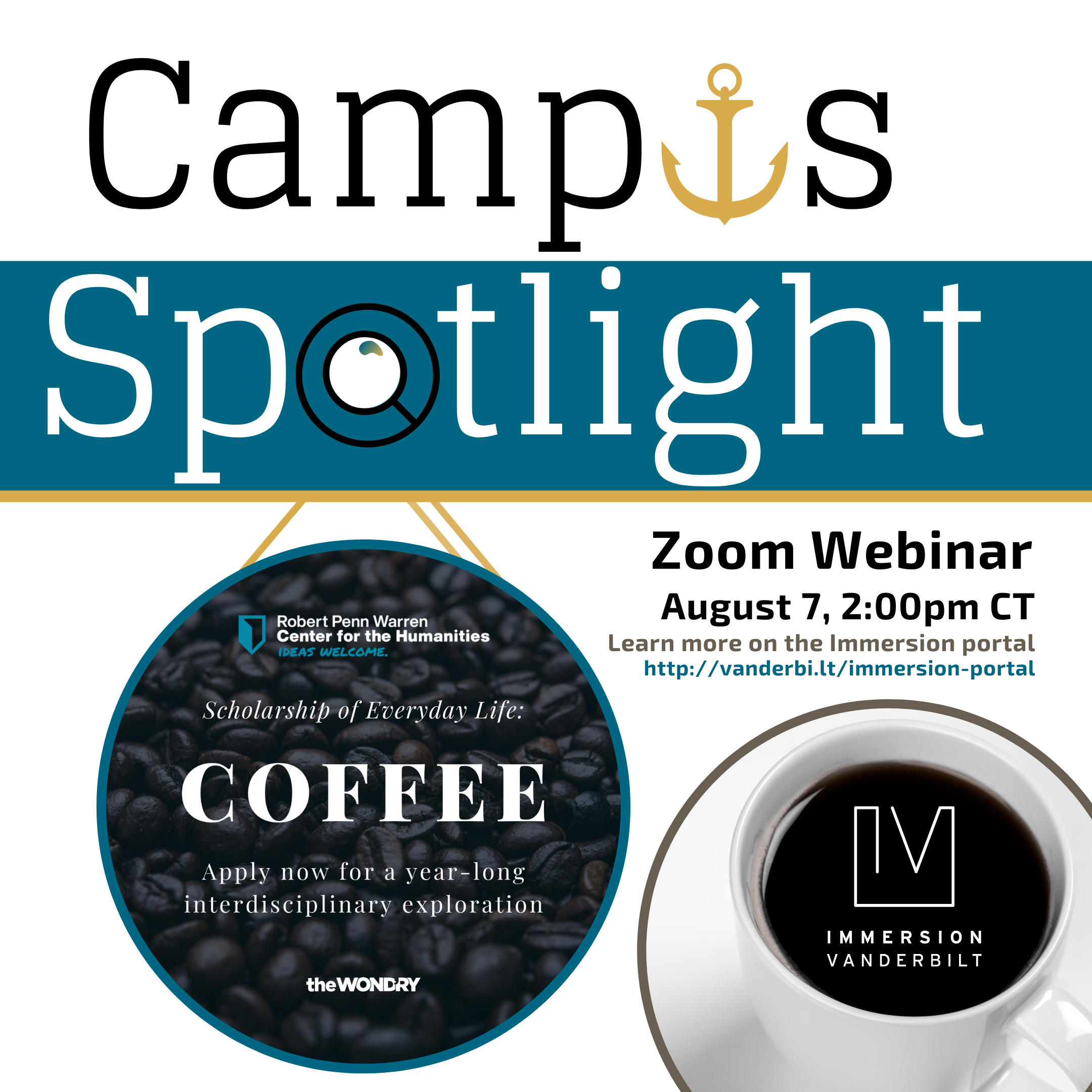 Graphic advertising a Zoom webinar with the Coffee Equity Lab, depicting a magnifying glass spotlighting an ad to apply