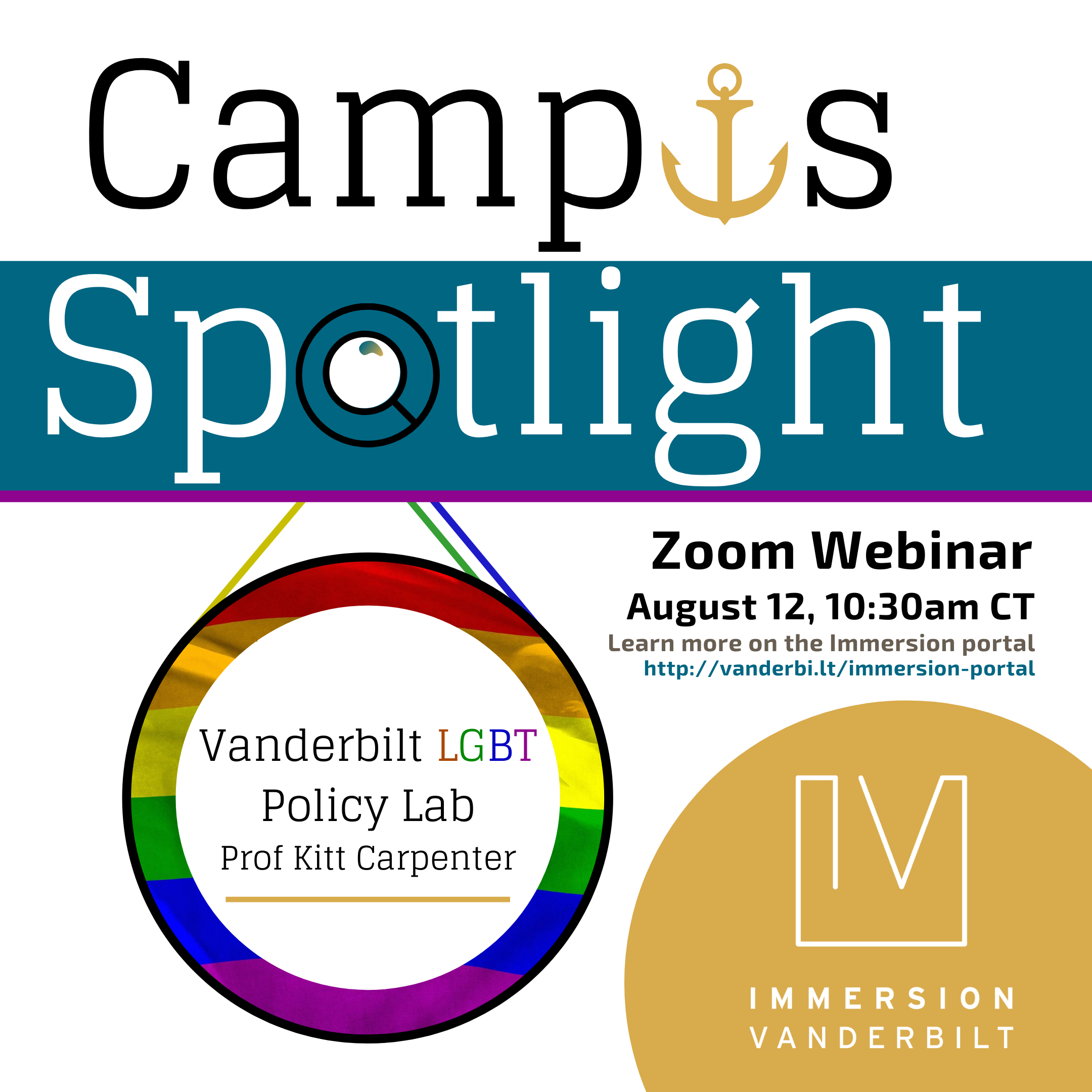 """Graphic advertising a Zoom webinar with the LGBT Policy Lab, depicting a magnifying glass spotlighting a pride flag with text """"Vanderbilt LGBT Policy Lab"""""""