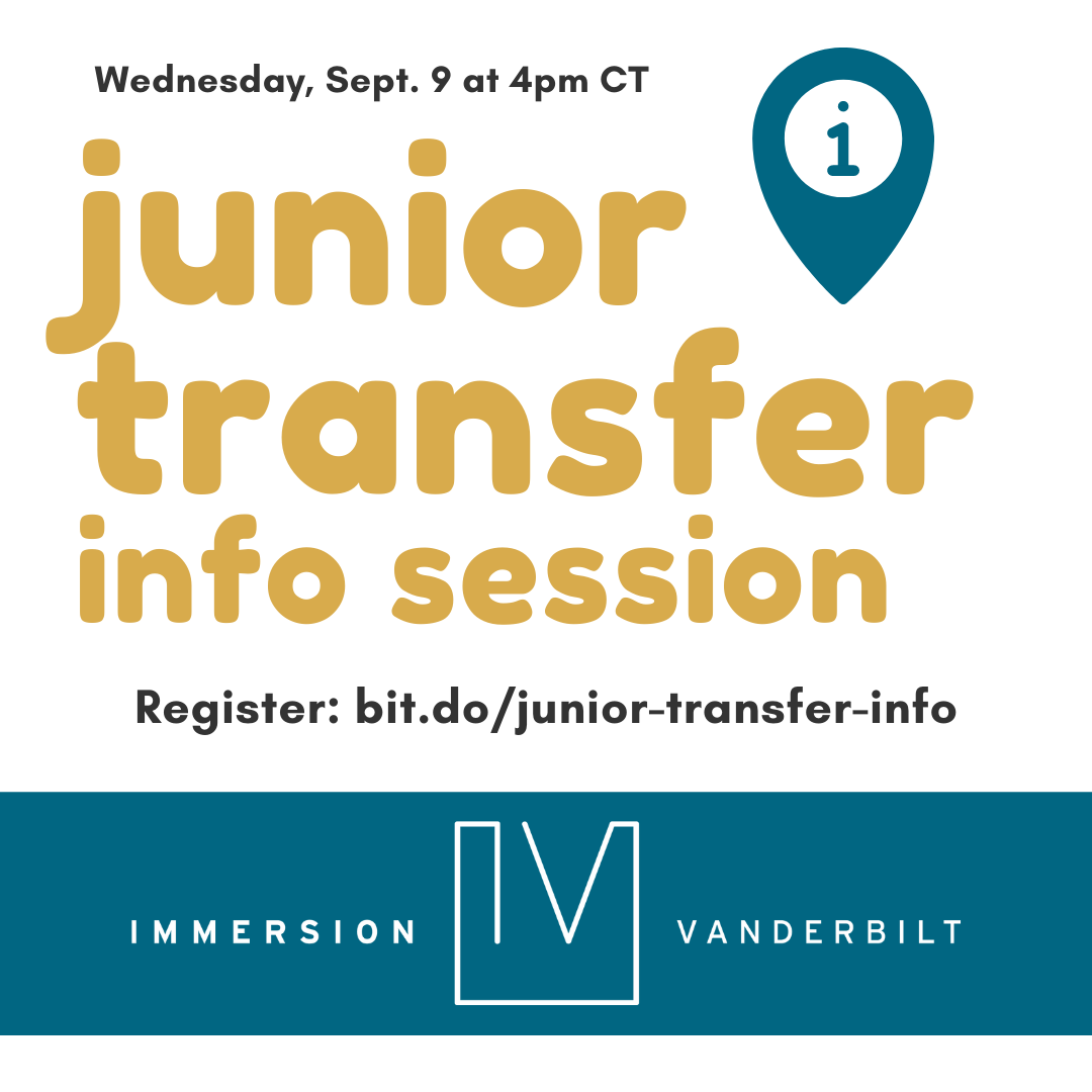 Graphic advertising an information session for junior transfer students