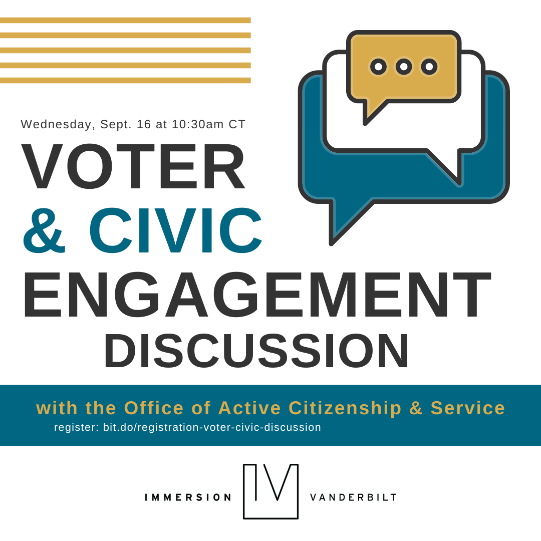Graphic advertising a Zoom discussion on voter registration and civic engagement