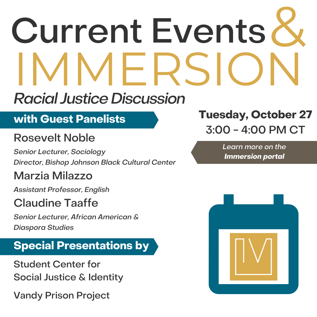 Graphic advertising a Zoom discussion about racial justice and Immersion projects