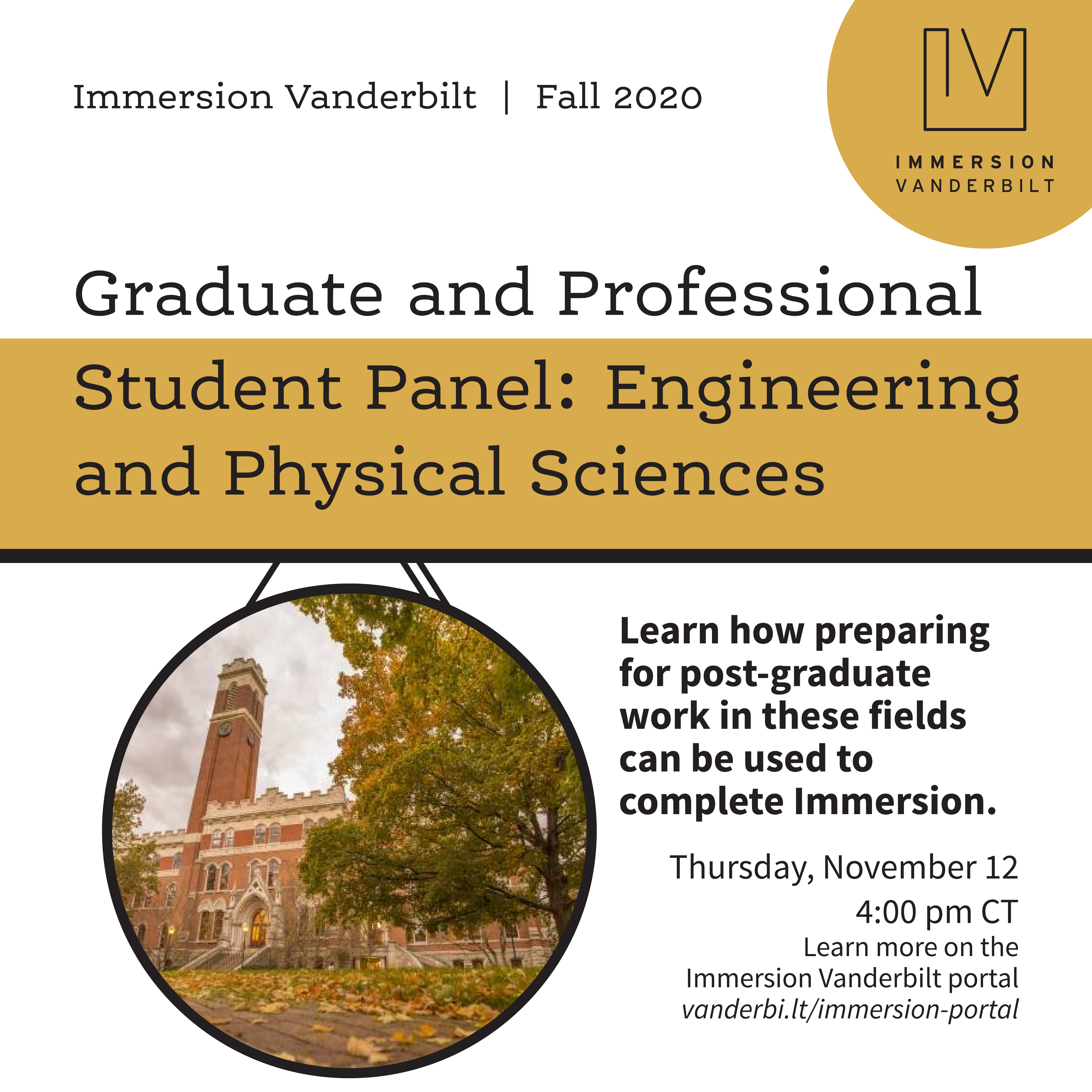 flyer advertising the graduate and professional student panel for engineering and phsyical sciences