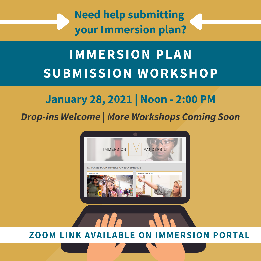 Graphic advertising a Zoom webinar for students who need help submitting their Immersion plan