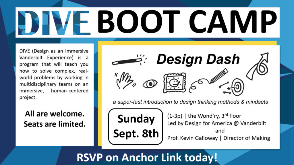 Blue and white flyer with information about the DIVE Boot Camp Design Dash