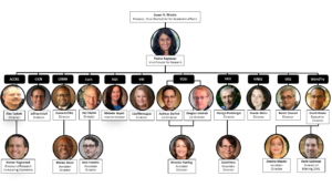 Organizational chart of the Office of Research Centers and Institutes: Susan Wente, Provost, Vice Chancellor for Academic Affairs; Padma Raghavan, Vice Provost for Research; ACCRE: Alan Tackett, Director; Hunter Hagewood, Director of Research Computing Operations; CICN: Jeffrey Schall, Director; CRMH: Derek Griffith, Director; Marino Bruce, Assistant Director; Curb: Jay Clayton, Director; Alex Frenette, Associate Director; SGS: Michelle Wyatt, Interim Director; VBI: Lisa Monteggia, Director; VDSI: Andreas Berlind, Co-director; Douglas Schmidt, Co-director; Amanda Harding, Assistant Director; VIEE: George Hornberger, Director; David Hess, Associate Director; VINSE: Sharon Weiss, Director; VISE: Benoit Dawant, Director; Wond'ry: David Owens, Executive Director; Deanna Meador, Assistant Director; Kevin Galloway, Director of Making, DIVE