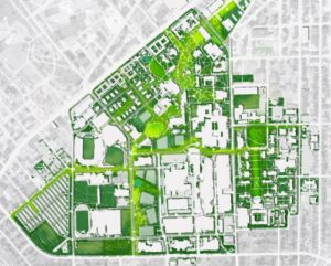 A map of the vision for campus outlined in the FutureVU land use plan.
