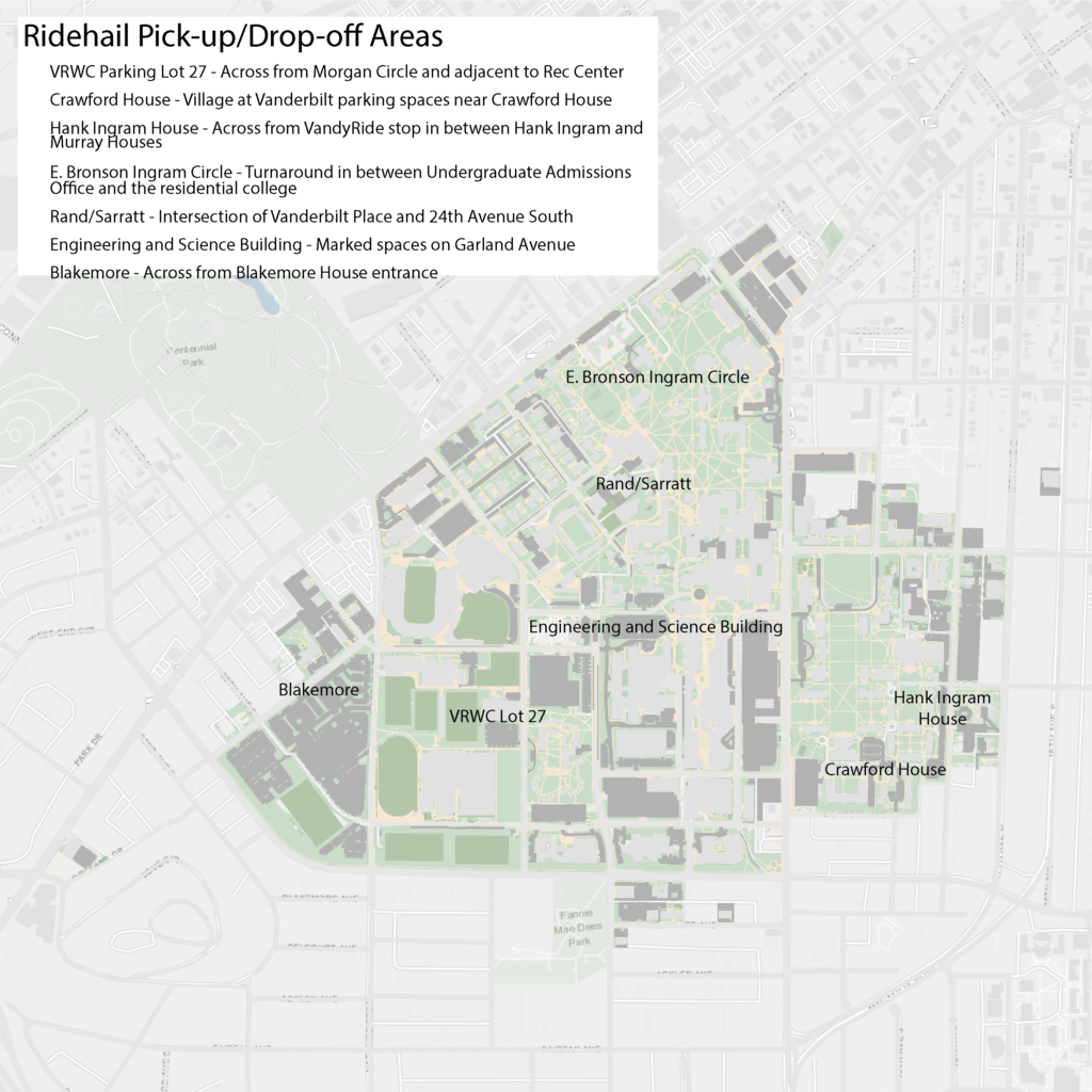 Map of designated ridehail pick-up and drop-off locations on Vanderbilt's campus