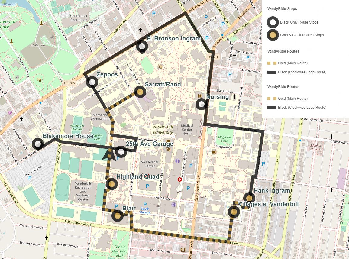Current VandyRide stops on campus are: E. Bronson Ingram College, School of Nursing, Hank Ingram House, Villages at Vanderbilt, Vanderbilt Blair School of Music, Highland Quad (25th Avenue side), 25th Avenue Garage (Highland Avenue side), Blakemore House, Sarratt Student Center/Rand Hall and Zeppos College.