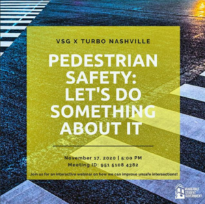 Graphic of a crosswalk to promote the webinar on pedestrian safety