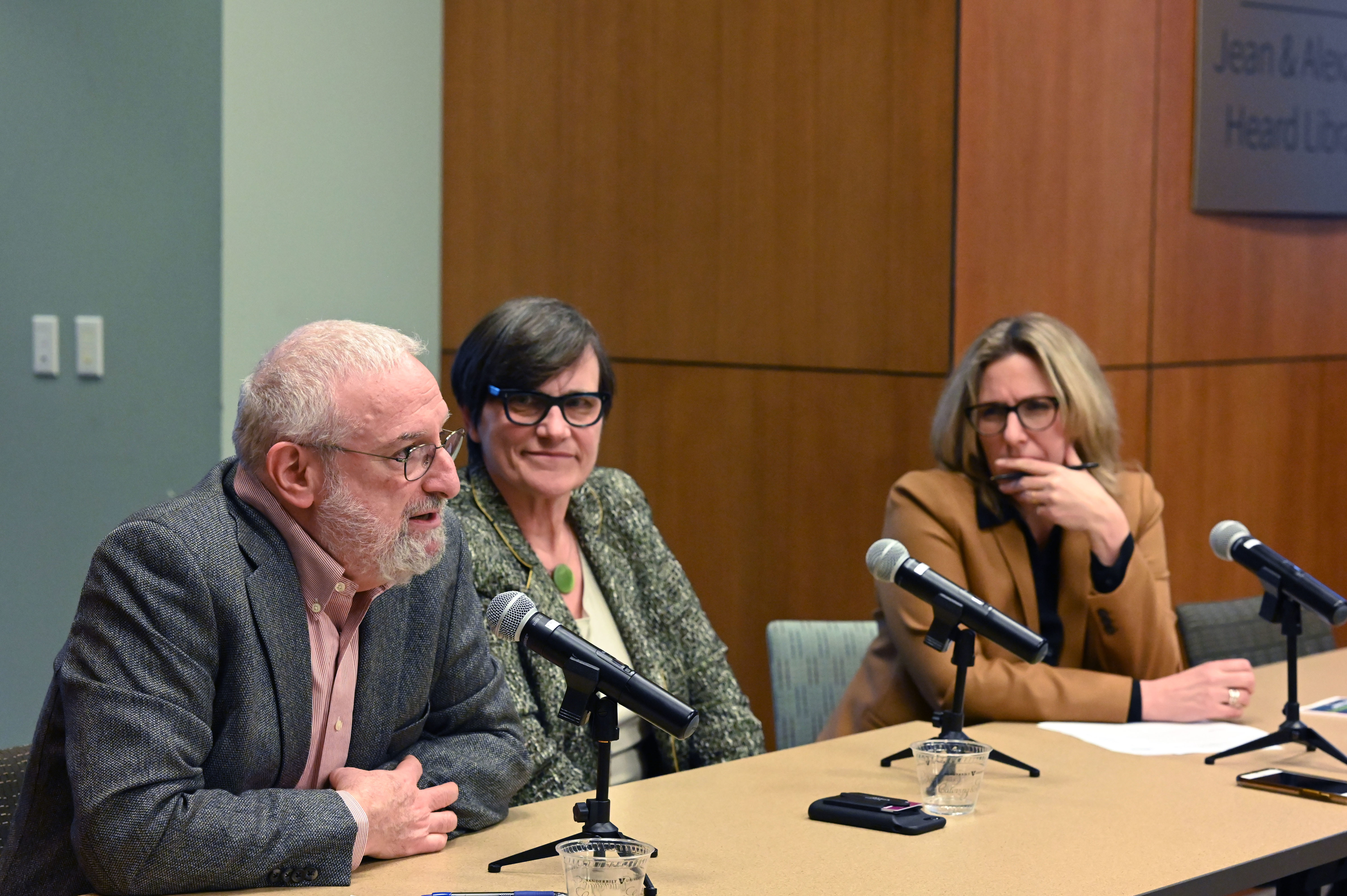 James Grossman, Paula Krebs, and Holly Tucker speak at a panel discussion