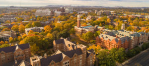 Aerial photo of Vanderbilt University main campus with fall trees