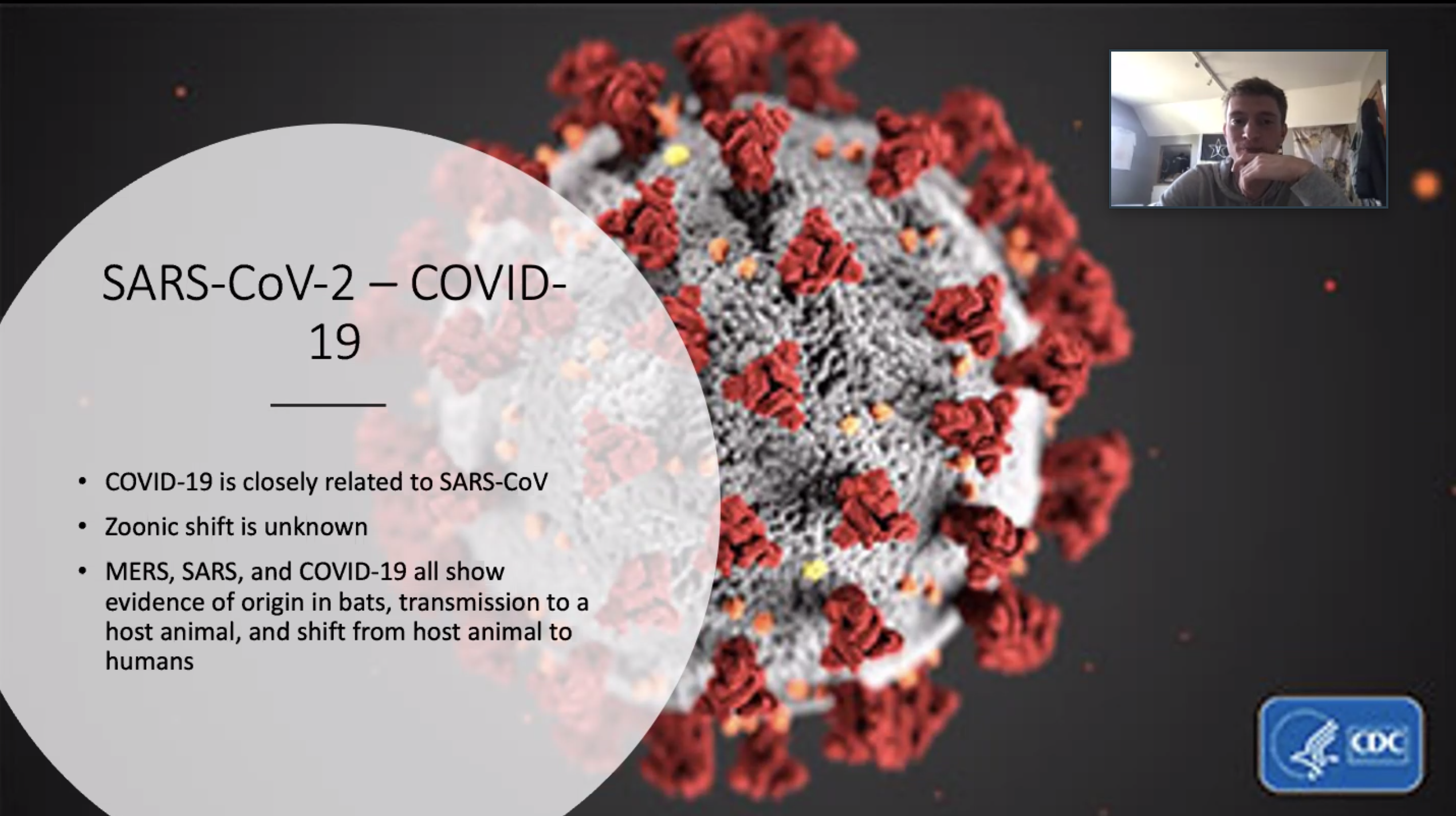 screen shot of a student presentation on Zoom, showing a graphic of the novel coronavirus, presentation title, and student's face