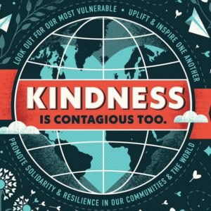 """Facebook group logo, showing a graphic of a globe bear a red banner that says """"Kindness is contagious too"""""""