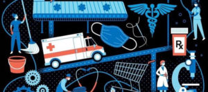 Part of a graphic designed by Lucie Rice for Facebook group supporting coronavirus pandemic frontline workers. Graphic shows a person with a mop and bucket, an ambulance, a face mask, a prescription medication bottle, a janitor pushing a cart, a shopping cart, a doctor, a microscope, and a medical technician.