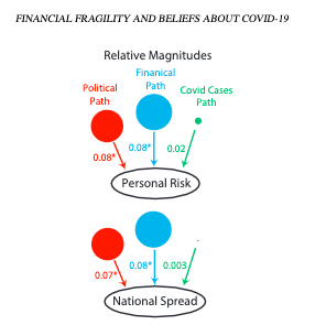 Diagram with colored circles and arrows showing that political affiliation and personal finances have a greater effect than COVID case numbers on people's beliefs about COVID.