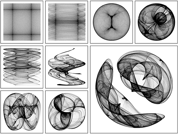 Several images of black-and-white art showing interlacing lines and shapes created by computer algorithms