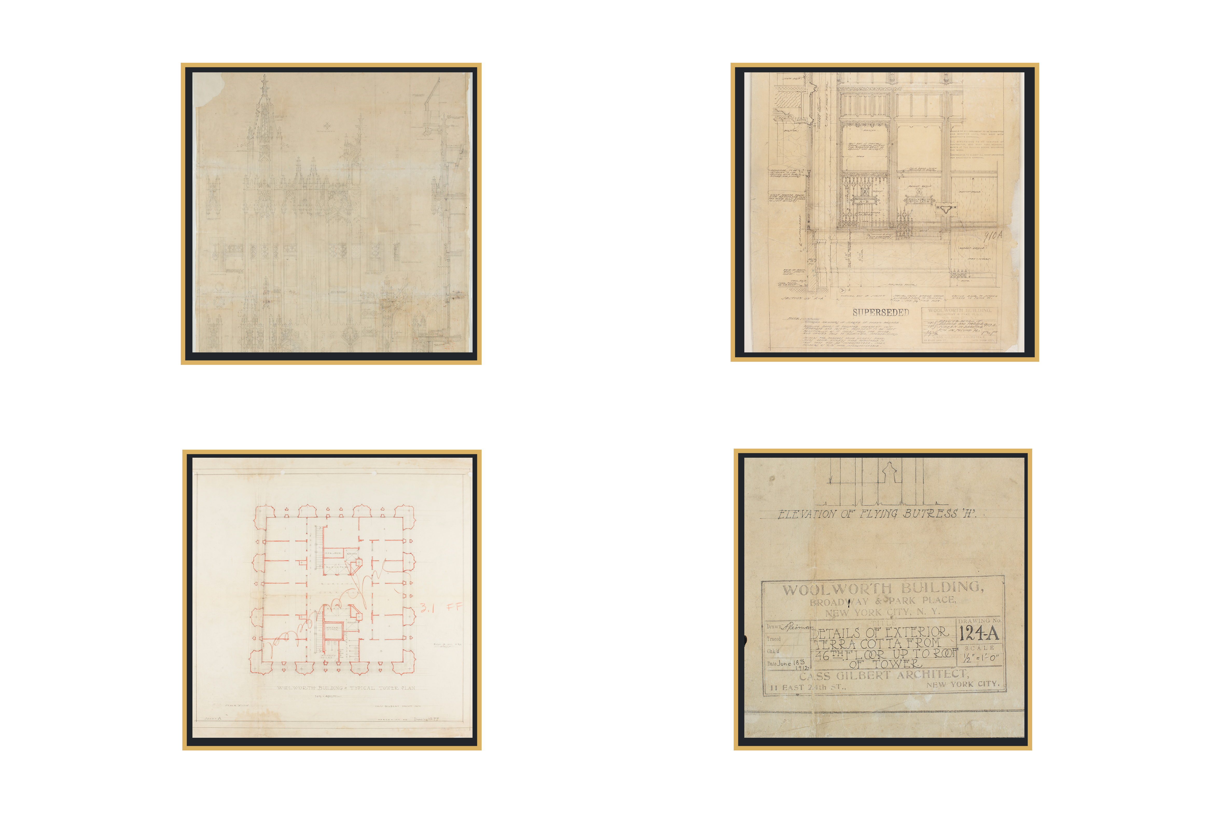 working drawings of the Woolworth Building by Cass Gilbert, architect, showing features of the building's exteriors, an interior floor plan, and a label identifying the building