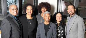 Group photo of faculty at the dedication of Vanderbilt's Callie House Research Center: Vanderbilt's Houston Baker, Tiffany Patterson, Tracy Sharpley-Whiting, Allice Randall, and Gilman Whiting, and University of Pennsylvania's Mary Frances Berry, all dressed in black, gray, and white