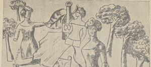 Hand-drawn image in charcoal or pencil of three female figures, bottles, papers, trees, and a large leaf