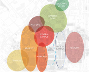 Image depicting the various neighborhoods on campus described on the text of the page
