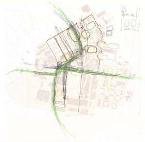 Hand-drawn sketch depicting an early version of the campus-wide Greenway