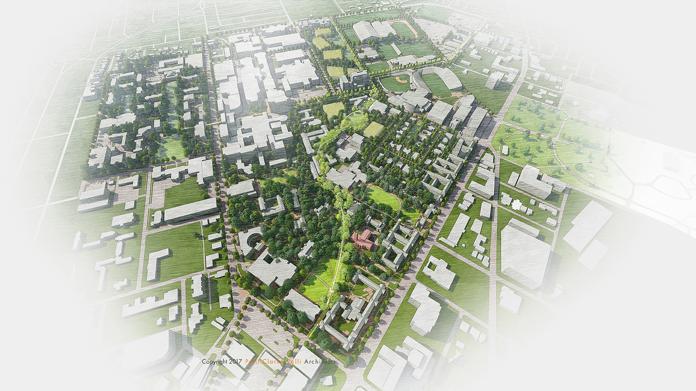 Future overhead view of campus depicting the campus greenway and potential future building placement