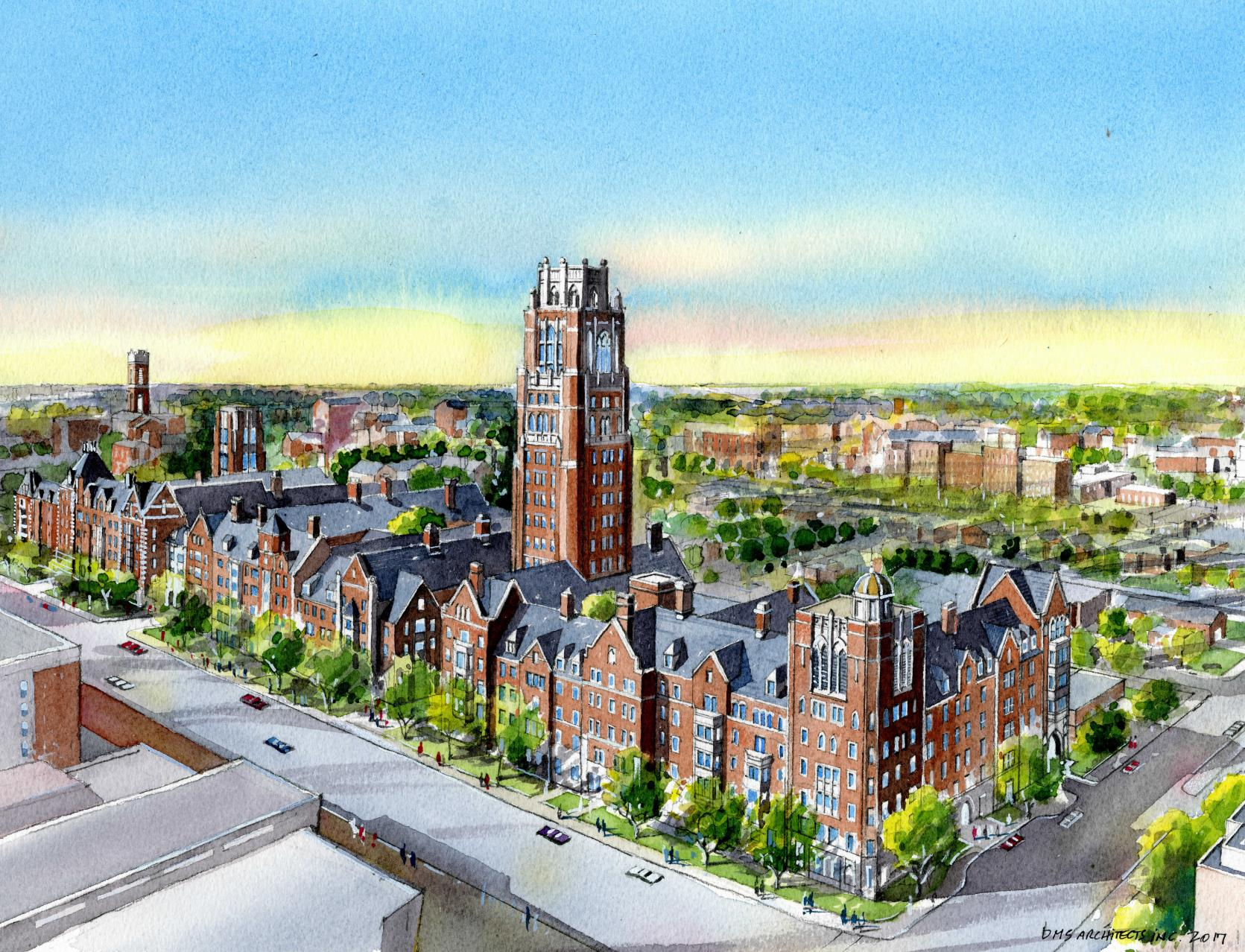 Watercolor of Residential Colleges along West End