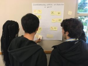 Students in Alex Sargent's First Year writing seminar on Fashion Sustainability work on a Map the System project as part of their course.