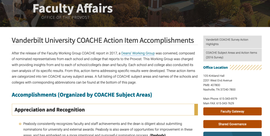 Screenshot of COACHE survey action items report