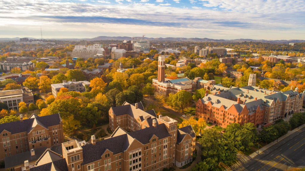Campus aerial of Kirkland Hall during Fall.(John Russell/Vanderbilt University)