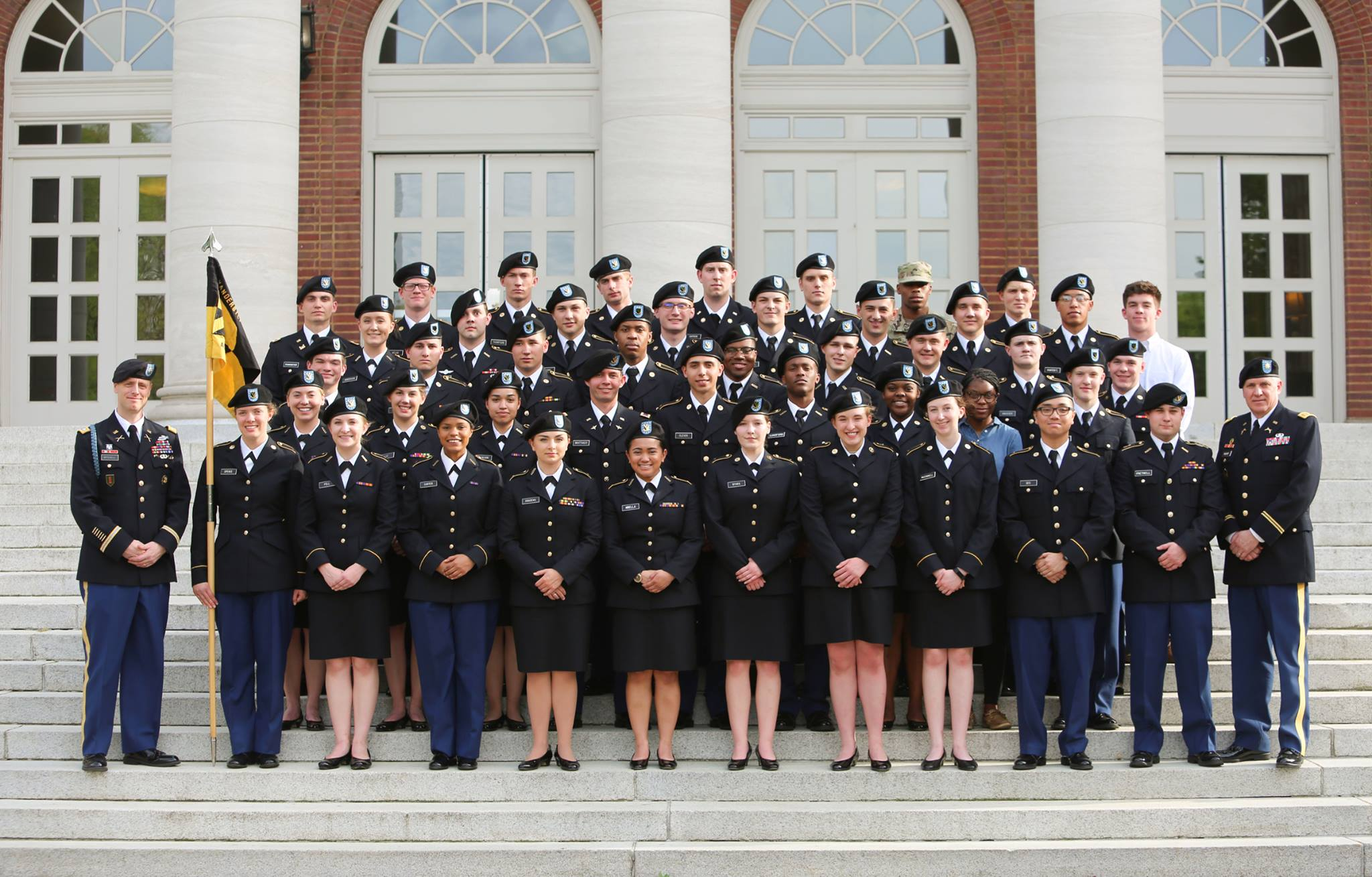 Members of Army ROTC at Vanderbilt in front of the Wyatt Center.
