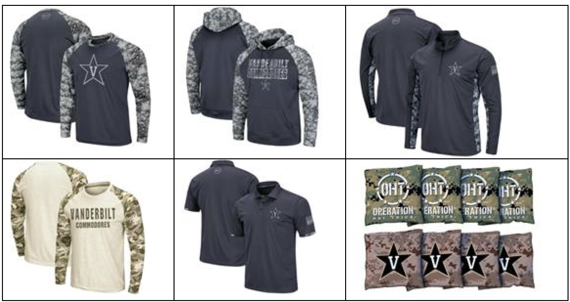 Example of Operation Hat Trick products available to Vanderbilt fans on Fanatics.