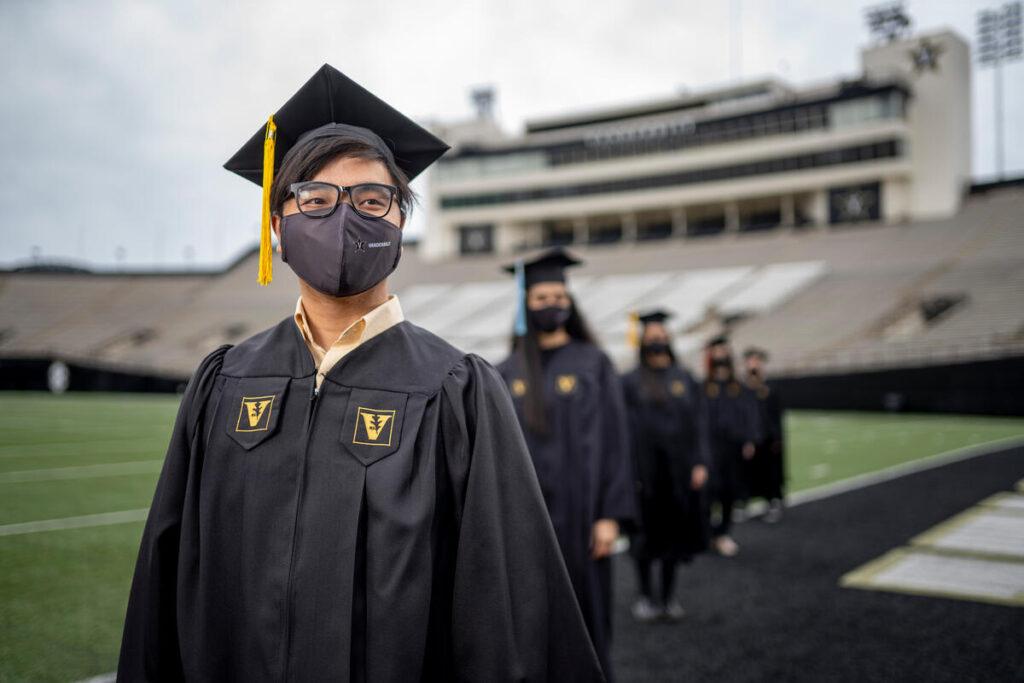 Seniors in Cap and Gown at Vanderbilt Stadium.(John Russell/Vanderbilt University)