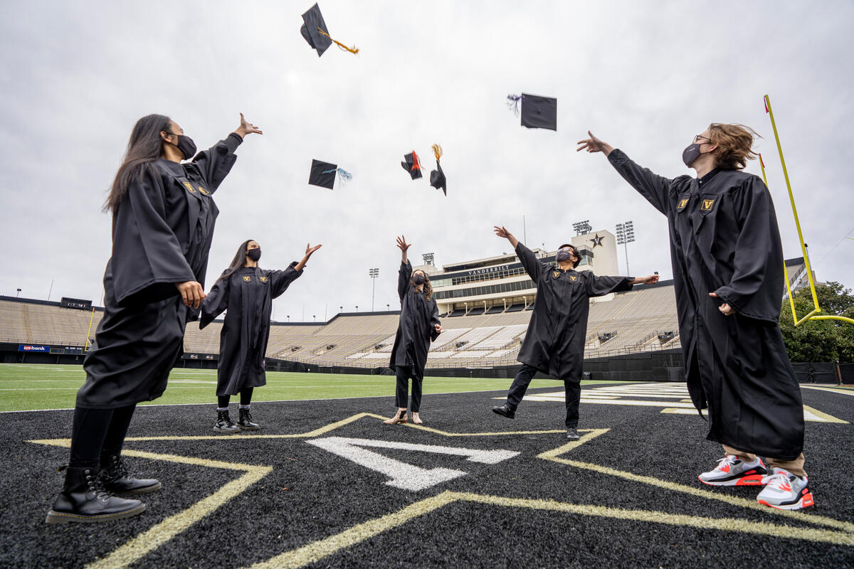 Seniors in Cap and Gown at Vanderbilt Stadium.(John Russell/Vanderbilt University)