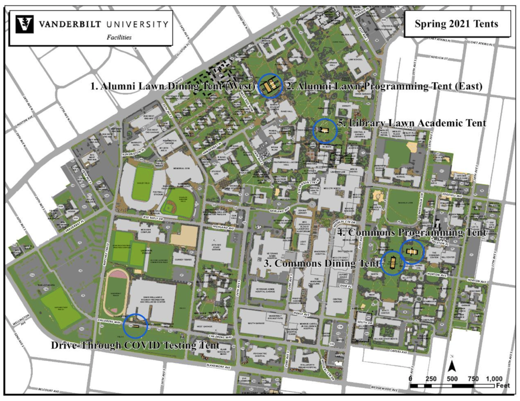 Map of five tent locations for Spring semester 2021.