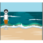 cartoon of boy at beach and riding a bike