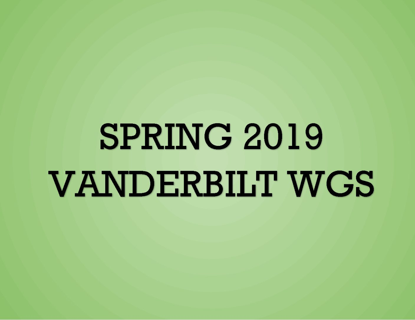 Spring 2019 in WGS